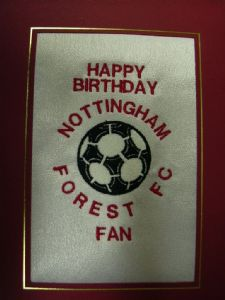 PERSONALISED EMBROIDERED NOTTINGHAM FOREST FC CARD - FOOTBALL